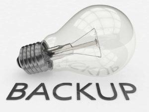 Bombilla con la palabra Backup