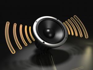 Altavoz con ondas simulando sonido