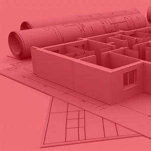 Planos enrollados y maquetas sobre plano de arquitectura