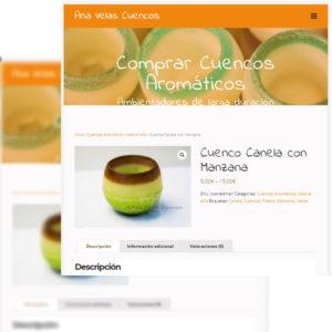 Captura de página web de Ana Velas Cuencos