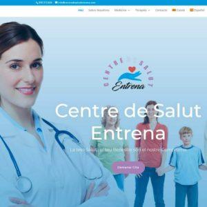 Captura de página web de Centro de salud Entrena como ejemplo de diseño web para centros de salud