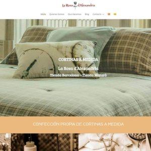 Captura de página web de Cortinas La Rosa d'Alexandría como ejemplo de web de tienda de decoración