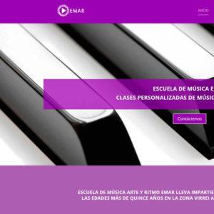 Captura de página web de Escuela de Música Emar como ejemplo de Página web de centros de enseñanza