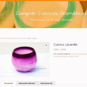 Captura de página web de Cuencos Aromáticos como ejemplo de web de catálogo de prouctos