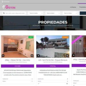 Captura de página web de Fincas Gevin como ejemplo de página web para inmobiliarias y fincas