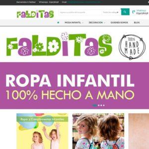 Captura de página web de Falditas Ropa Inantil como ejemplo de web de tienda de venta on line