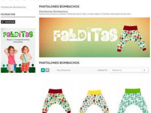 Captura de página web de Falditas tienda online