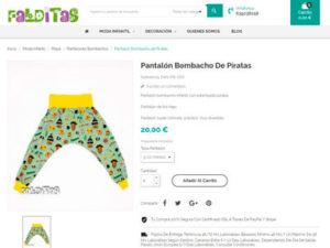 Captura de ficha de producto de web de venta online Falditas Ropa Infantil