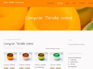 Captura de página web de venta online de Ana Velas Cuencos