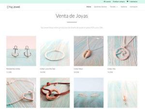 Captura de pagina web de tienda online Yuj Jewl