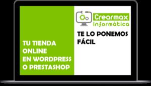 Foto de un portátil que publicita la tienda online con WordPress o Prestashop