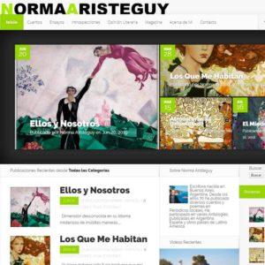 Captura de página web de la escritora Norma Arísteguy como ejemplo de diseño de web Profesional