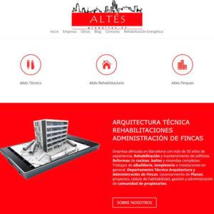 Captura de página web de la empresa Grup Altés como ejemplo de diseño de página web