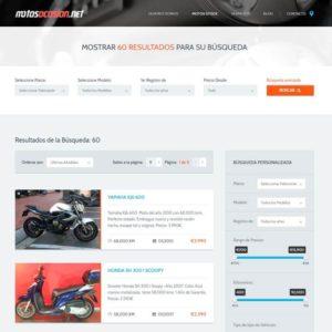 Captura de página web de Motos Ocasión como ejemplo de diseño web
