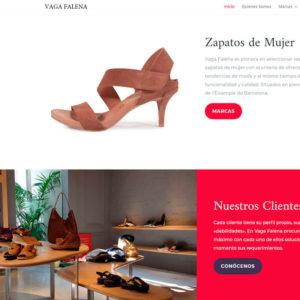 Captura de página web de Vagafalena Shoes como ejemplo de diseño web